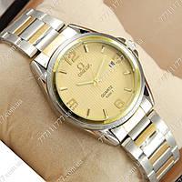Часы мужские наручные Omega quartz 8266-1 Silver-gold/Gold
