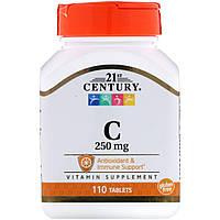 """Витамин С, 21st Century """"Vitamin C"""" 250 мг, поддержка иммунной системы (110 таблеток)"""