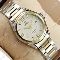 Часы мужские наручные Omega quartz 8266-1 Silver-gold/White