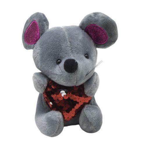 AZS 159  Мышка блестящие уши  серый. sco