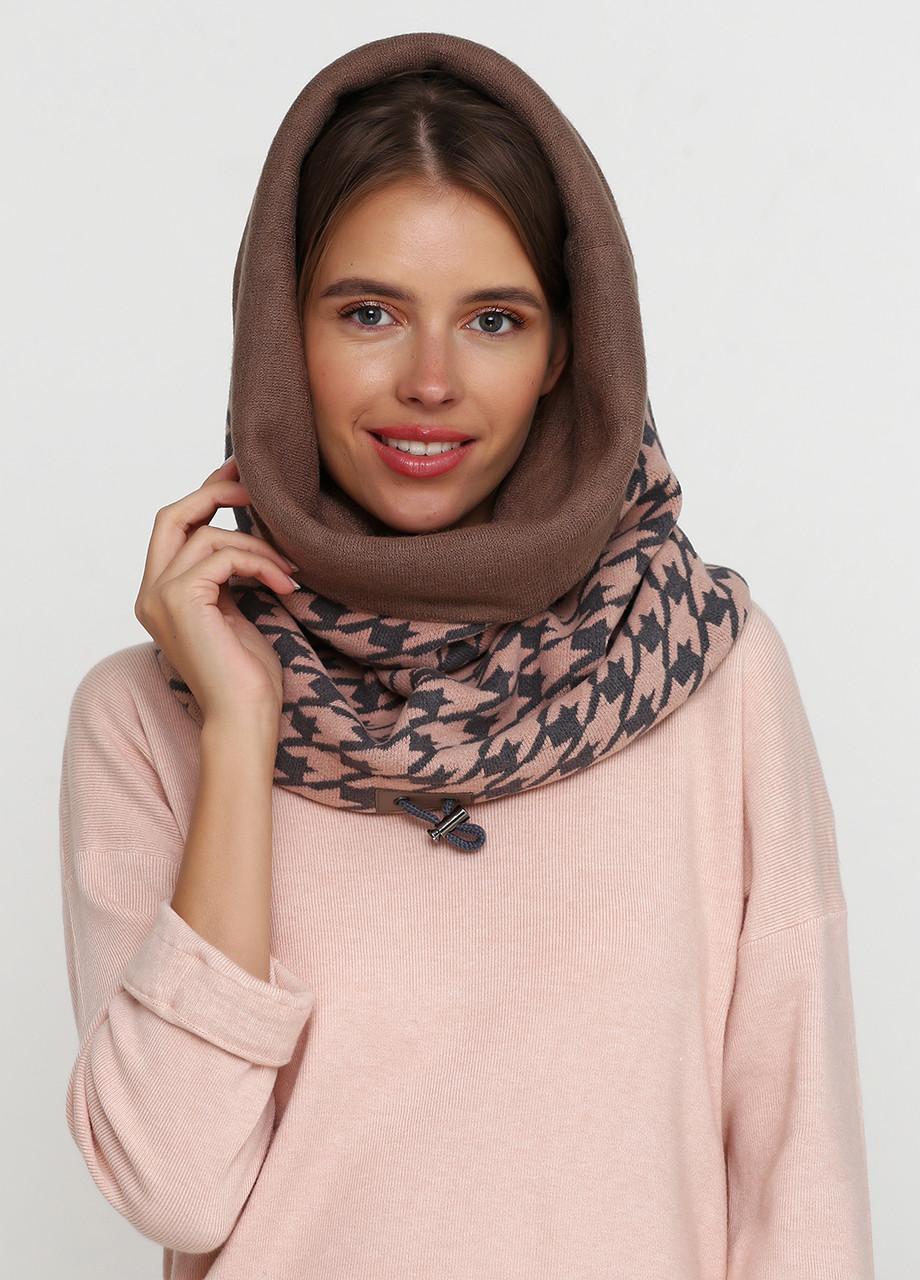 Дизайнерский шарф-капюшон-снуд  ручной работы (шерсть,хлопок)