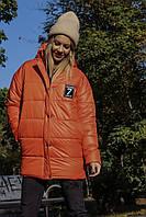 Женская короткая зимняя теплая куртка плащевка на силиконе красная чёрная белая оранж цитрус 42÷44 46÷48 50÷52, фото 1