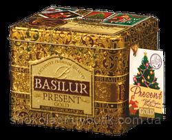 Черный чай Basilur Золотой подарок, коллекция Подарок, ж/б 100г