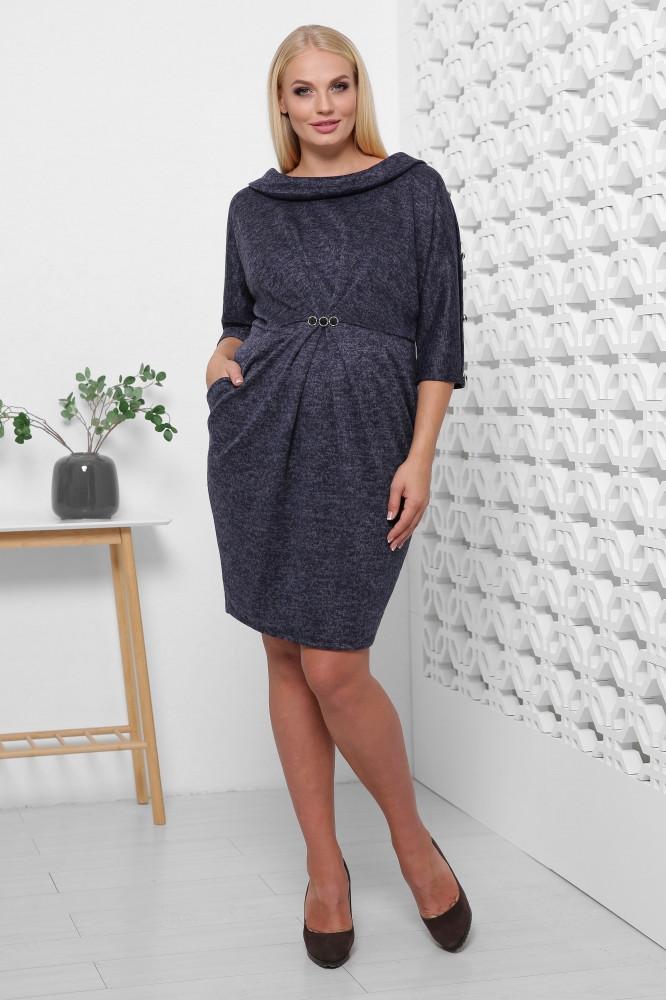 / Размер 50,52,54,56 / Женское платье из ангоры Тереза / цвет темно синий