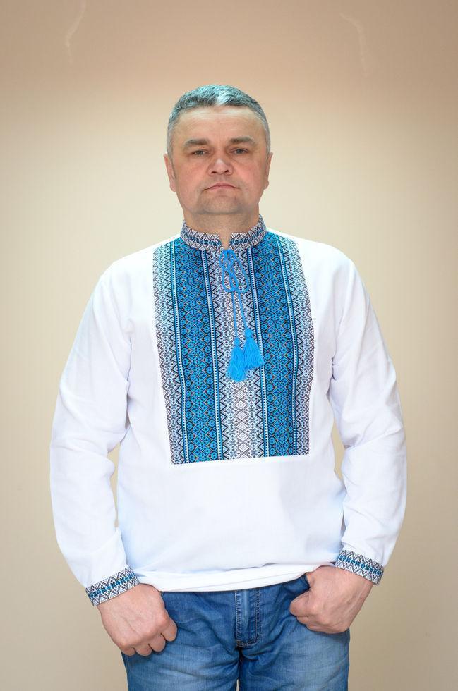 Вишиванка мужска Волинські візерунки Тіффані блакитна ткана 48 р. біла