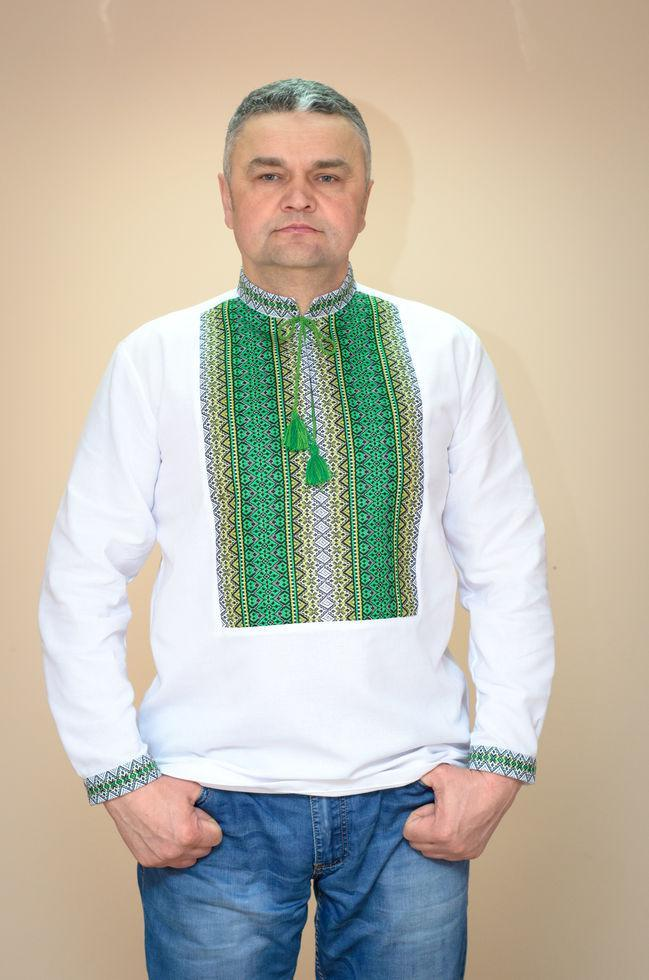 Вышиванка мужская Волинські візерунки  Тиффани зеленая тканая  58 р. белая