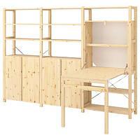 IKEA ИВАР, книжный шкаф со столом / шкафы / полки, сосны, 259x30-104x179 см, (693.047.54)