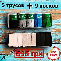 Набор мужских трусов Lacoste + Набор носков Calvin Klein / Tommy Hilfiger9 пар. ХЛОПОК