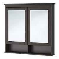 """ИКЕА """"ХЕМНЭС"""" Зеркальный шкаф с 2 дверцами, морилка черно-коричнев, 103*16*98см."""