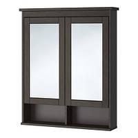 """ИКЕА """"ХЕМНЭС"""" Зеркальный шкаф с 2 дверцами, морилка черно-коричнев, 83*16*98см."""