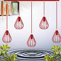 """Подвесной металлический светильник, современный стиль, loft, vintage, modern style """"KAPLY-5R"""" Е27 красный цвет"""