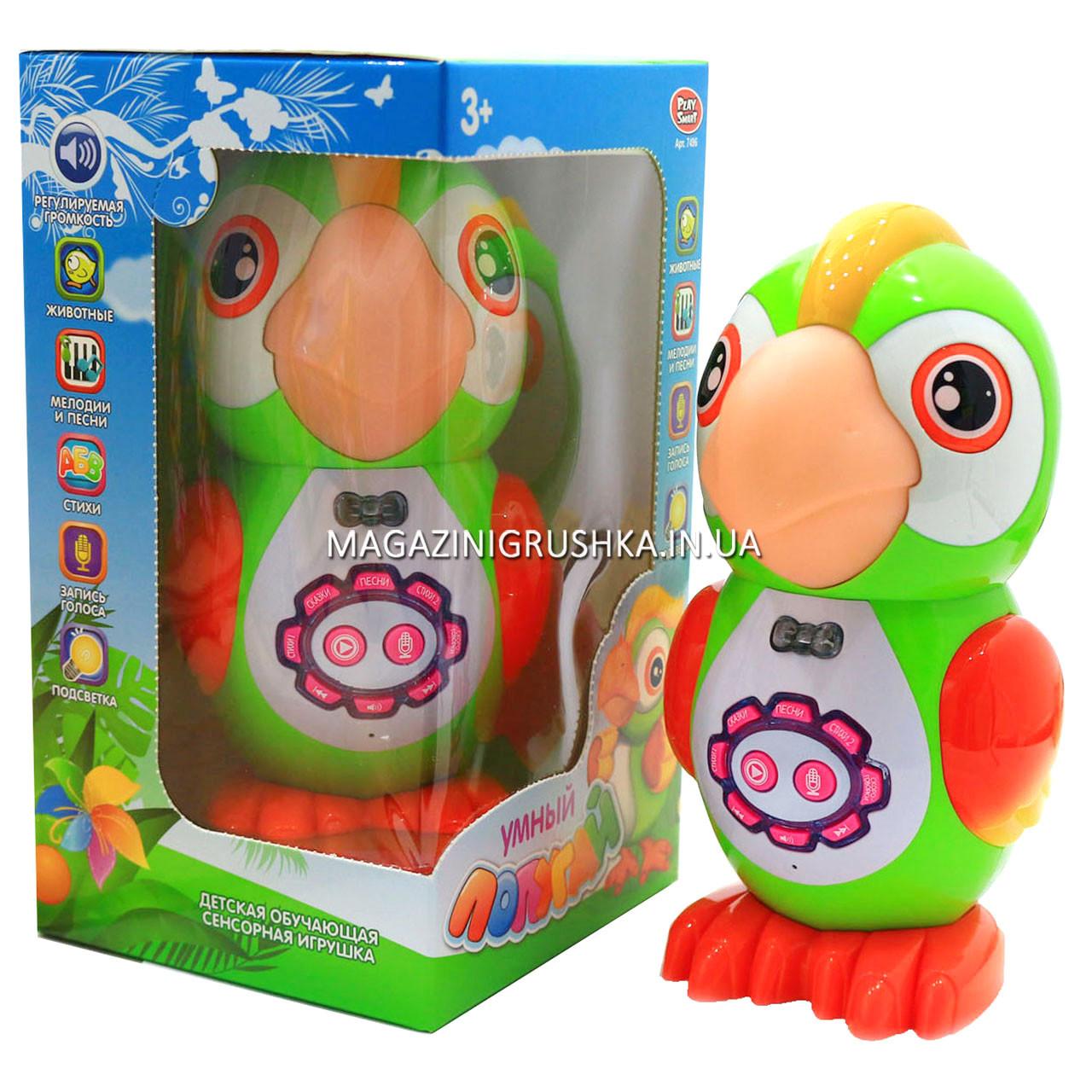Интерактивная игрушка умный попугай арт. 7496. Детские аудиосказки, стихи, песни и скороговорки