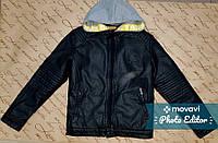 Модная кожаная демисезонная куртка для мальчика 10 лет