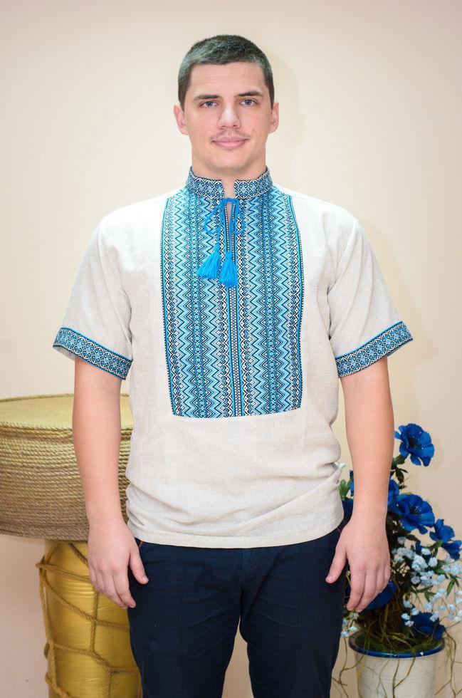 Вишиванка чоловіча Волинські візерунки ткана з коротким рукавом Рандеву блакитна 58 р. сіра