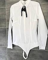 Женская белая боди рубашка. Размер М