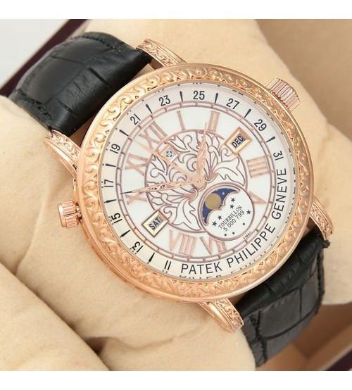Мужские часы Patek Philippe Grand Complications 6002 Sky Moon Black, элитные часы Patek Philippe реплика ААА