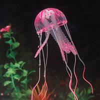 Розовая медуза в аквариум силиконовая - диаметр шапки 6-6,5см