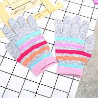 Перчатки для девочки  серые весна/осень в полоску , серые, фото 1