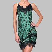 Женская ночнушка мраморный велюр M-7029 зеленая