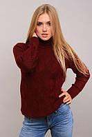 Однотонный женский теплый свитер повседневной носки бордового цвета