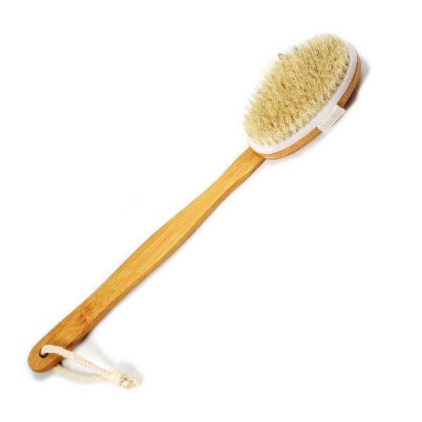 Бамбуковая массажная  щетка для тела ВODY BRUSH с 100% белой щетиной кабана, фото 2