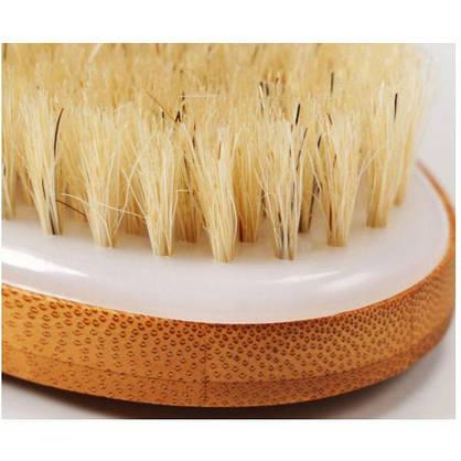 Бамбуковая массажная  щетка для тела ВODY BRUSH с 100% белой щетиной кабана, фото 3