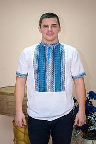 Вишиванка чоловіча Волинські візерунки ткана з коротким рукавом Тіффані блакитна 58 р. біла