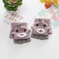 Перчатки-варежки, митенки детские весна/осень, розовые, фото 1