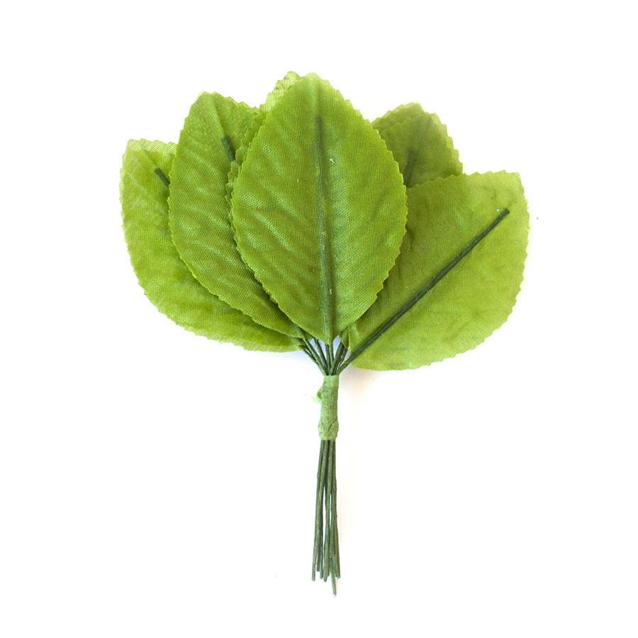 Листики розы, 5.5*3.5 см, ЗЕЛЕНЫЙ, 12 шт