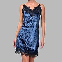Женская ночнушка мраморный велюр M-7069 темно-синяя, фото 1