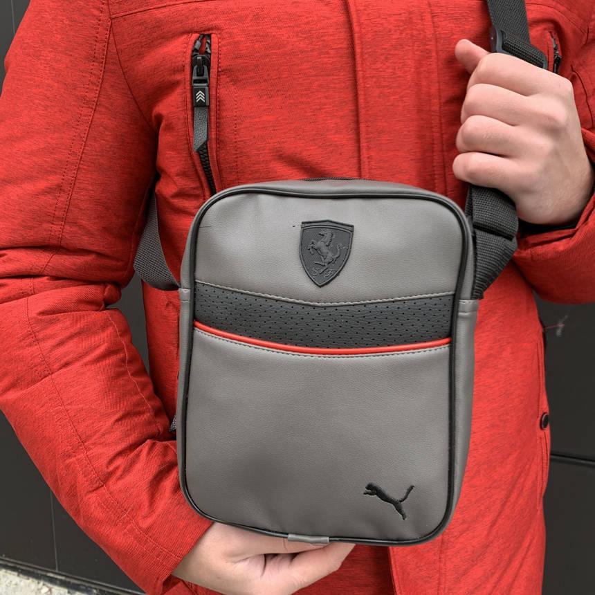 Мужская барсетка Puma Ferrari серая (Пума Ферари) сумка через плече, фото 2