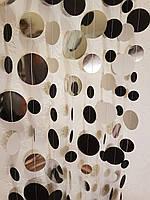 Бумажнаягирлянда 2м из черных и зеркальных серебряных кружочков для декора фотозоны