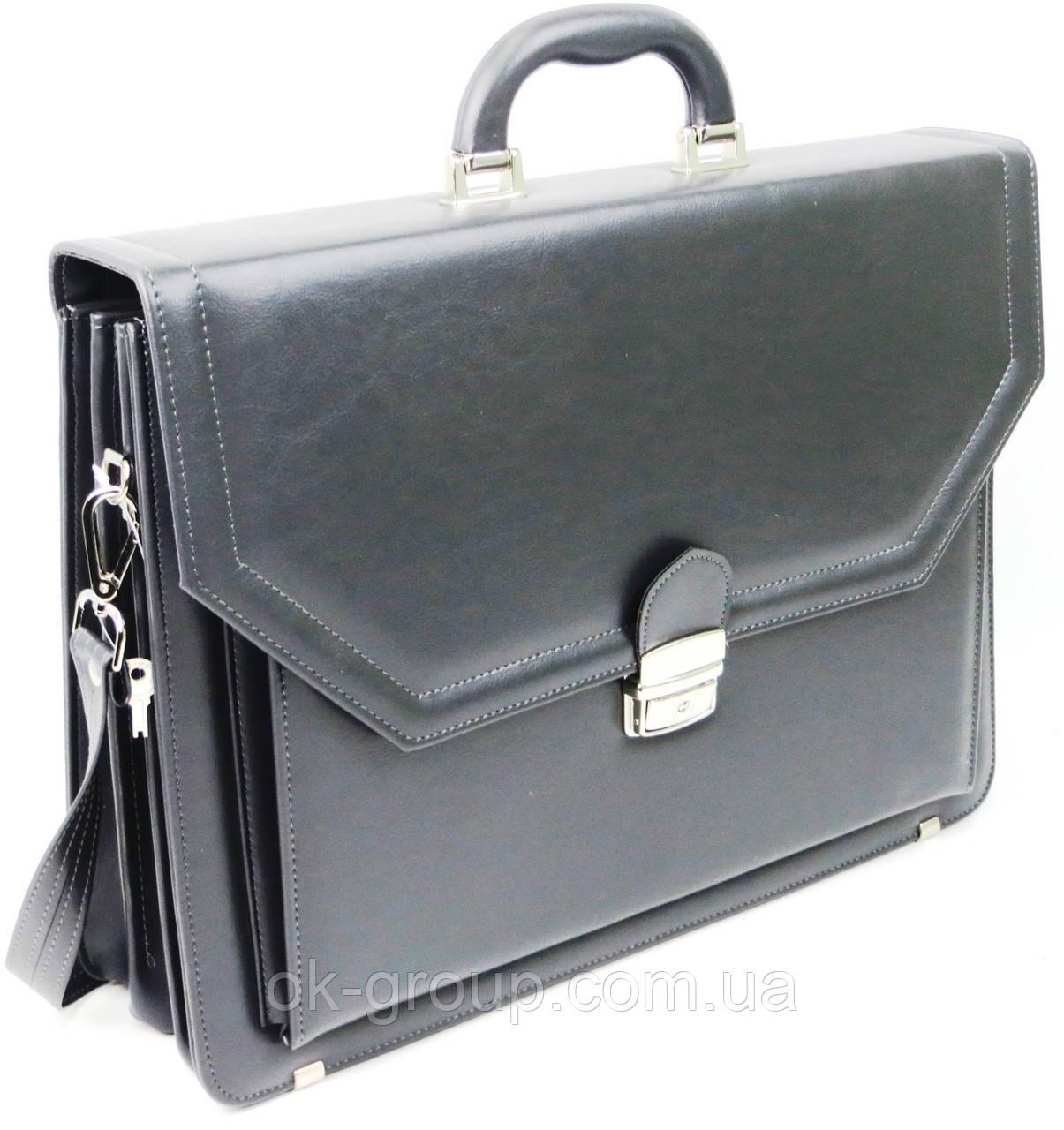 Большой мужской портфель из эко кожи AMO SST01 серый