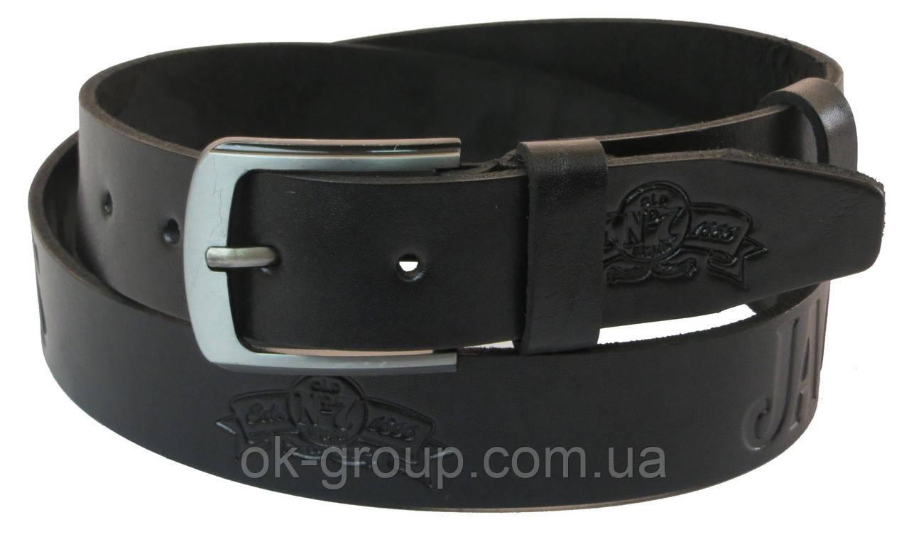 Мужской кожаный ремень под джинсы Skipper 1062-38 черный ДхШ: 127х3,8 см.
