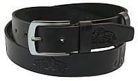 Мужской кожаный ремень под джинсы Skipper 1062-38 черный ДхШ: 127х3,8 см., фото 1