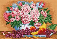 """Схема для вышивки бисером на габардине """"Пионы с фруктами"""""""