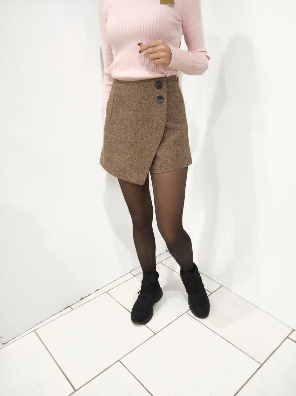 Купить Женская твидовая юбка-шорты коричневого цвета