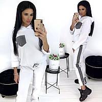 Женский костюм двойка (кофта с капюшоном + штаны) из трёхнитки на флисе
