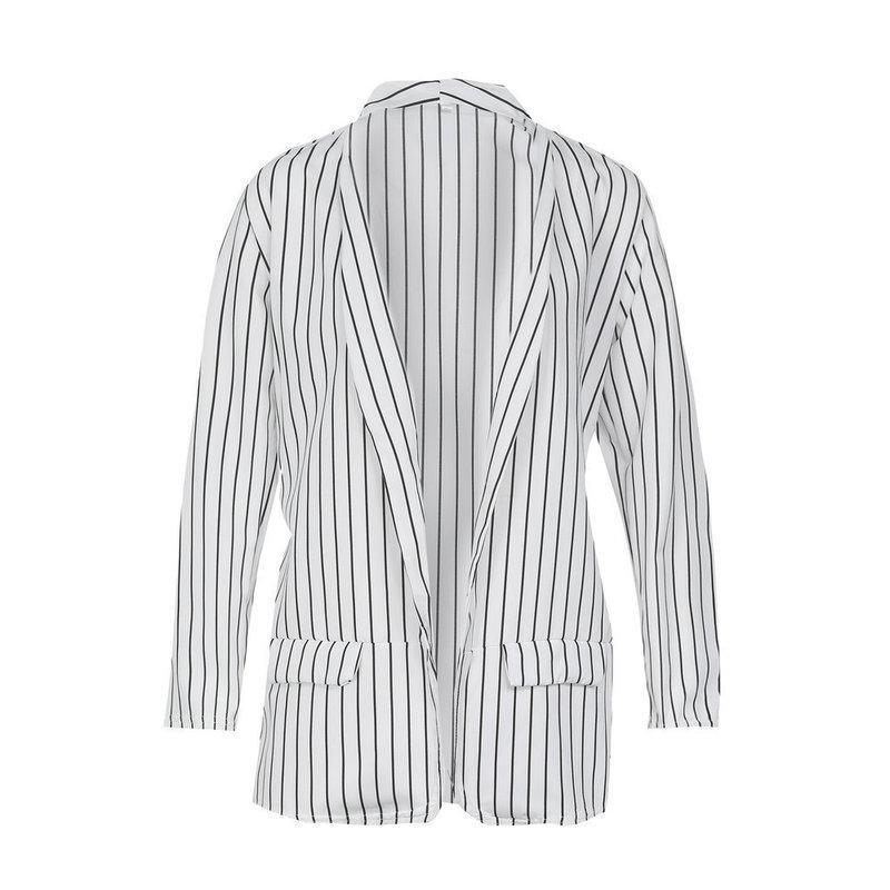 Легкий женский пиджак без подкладки в тонкую полоску