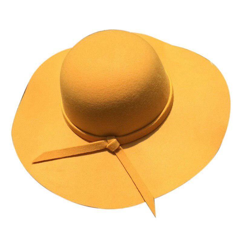 Шляпа женская широкополая желтого цвета