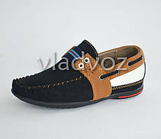 Детские мокасины туфли для мальчика коричневая полоска Kellaifeng 29р, фото 2