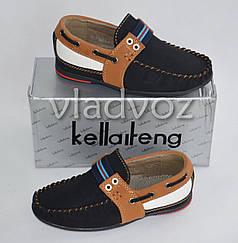 Детские мокасины туфли для мальчика коричневая полоска Kellaifeng 29р