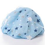 "Отрез муслина ""Звёздный карнавал"" синий, белый на голубом 39*80 см, фото 5"