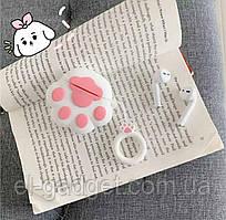 Чехол футляр для наушников AirPods Лапка белая + брелок силиконовый