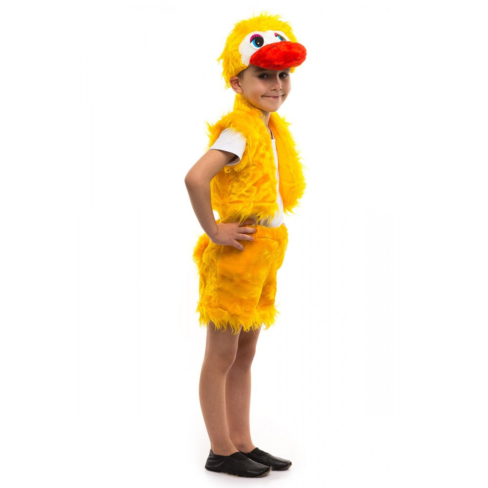 Маскарадный костюм Утенка для мальчика желтый мех