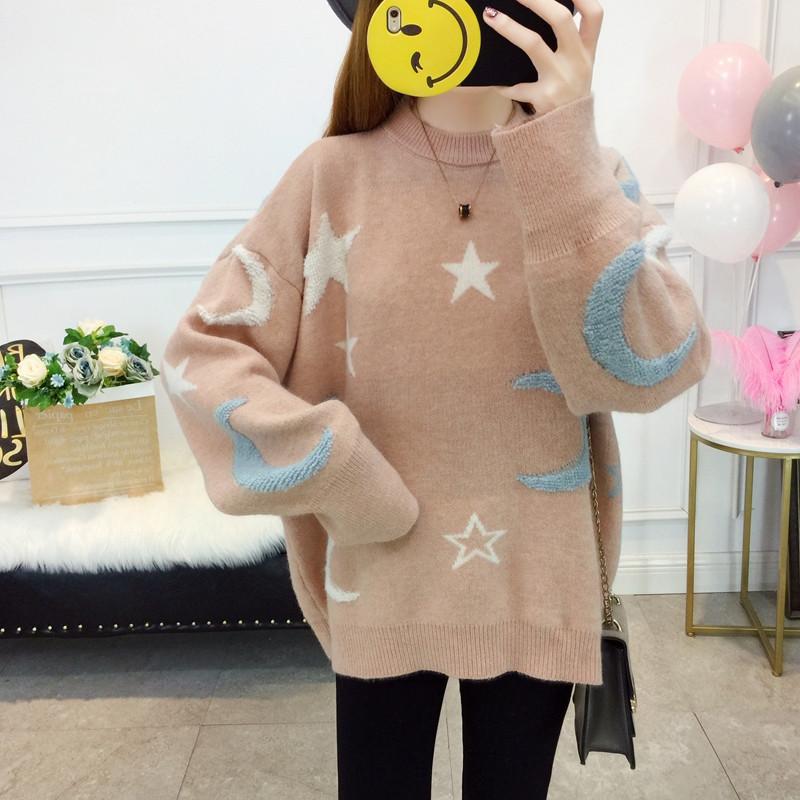 Оверсайз свитер со звездами и месяцем 44-48 (в расцветках)