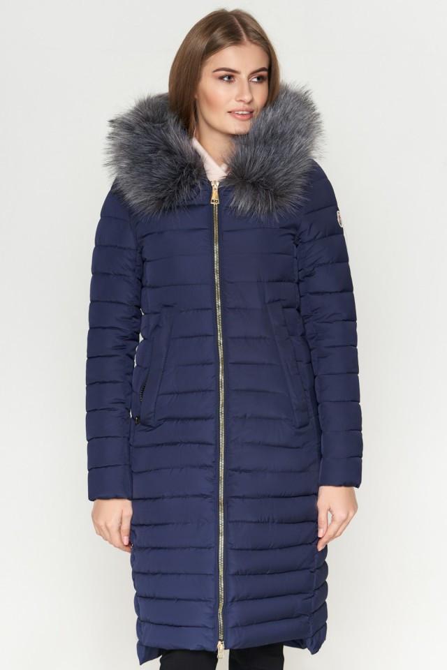 Женская куртка зимняя Braggart Kiro Tokao длинная теплая c капюшоном синяя размер 50 52 54 56 58