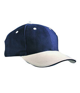 Бейсболка шестипанельная Тёмно-Синий / Бежевый / Тёмно-Синий