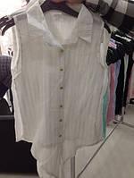 Блуза женская белая шифоновая на завязках.