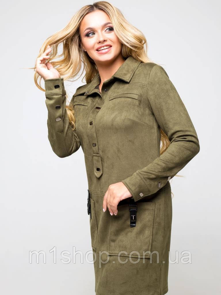 Женское замшевое платье-рубашка (Офелия lzn)